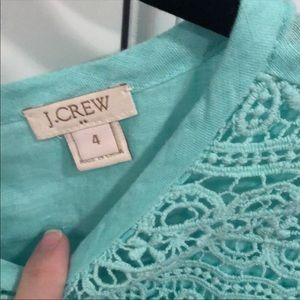 J. Crew Tops - EUC j crew linen mint top with lace detail